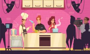 rysunek kucharzy gotujących różne potrawy