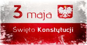 flaga Polski z napisem 3 maja Święto Konstytucji